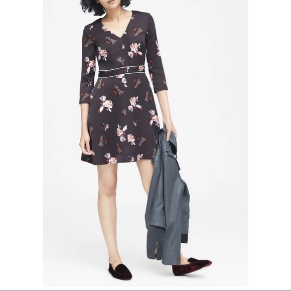 Banana Republic Floral Fit And Flare Dress